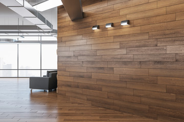 Fotomurales - Modern office interior with blank wooden wall.