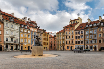 Empty Old Town Square in Warsaw Fotobehang