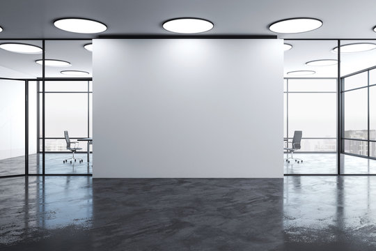 Blank wall in modern office interior