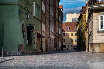 Empty Old Town streets in Warsaw