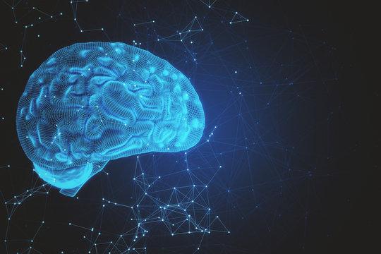 Digital blue AI brain