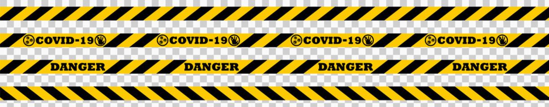 Corona virus 2019-nCoV Quarantine Ribbon Vector illustration. Global Pandemic COVID-19 Caution Concept Symbol. Warning coronavirus. Isolated on transparent background. Vector