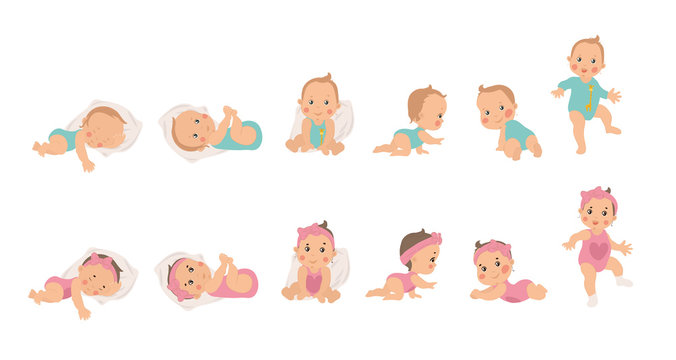 Set of young baby health and development icons for a boy and girl from newborn to sitting, crawling and finally waking, vector illustrations isolated on white