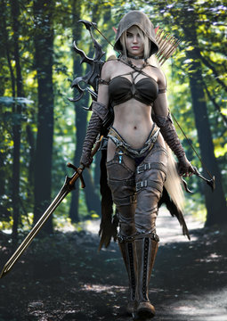 Portrait of a stunning exotic hooded fantasy elf female warrior with white long hair walking toward the camera, equipped with a sword and bow and arrow for weapons. 3d rendering .