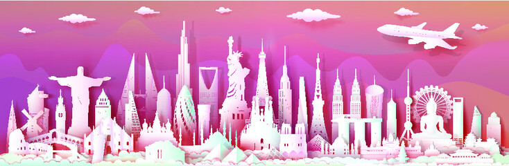 Wall Mural - Travel landmarks world with modern important architectural monuments of world,Tourism with panoramic landscape paper art style, Use for travel poster and postcard, Vector illustration paper cut.