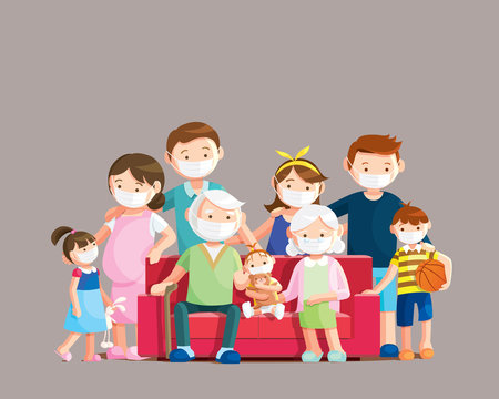 Coronavirus disease protection, Big family wear face masks for preventing COVID-19. Vector illustration in a flat style.