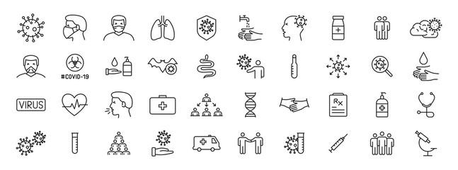 Set of 40 Coronavirus protection web icons in line style. Safety, health, coronavirus, virus, outbreak, contagious, epidemic, infection. Medical mask. Vector illustration.