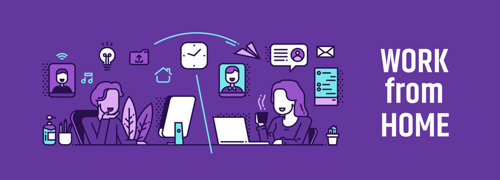 Working from home vector illustration.