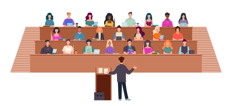 Students in lecture hall. Learning process in university, students and teacher in auditorium, professor in seminar, education vector concept
