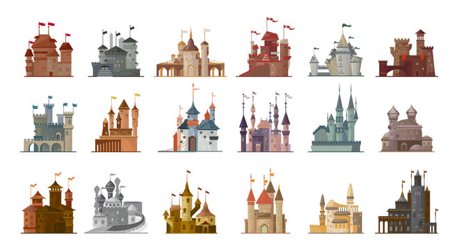 Medieval castle isolated cartoon set icon. Vector illustration ancient palace on white background. Vector cartoon set icon medieval castle.