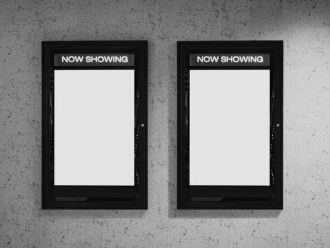 Mock up poster frame on wall. Cinema Now showing movie Poster in Movie theatre