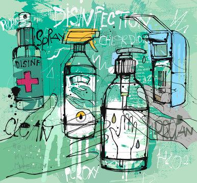 Desenfektions Sketch in Vektor
