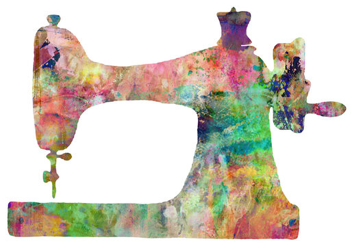 Sewing Machine Abstract Colorful Textured Artwork