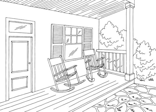 Porch graphic house building black white sketch illustration vector
