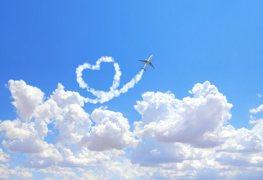 Aircraft draw a heart in the sky
