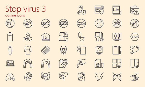 Stop virus outline iconset (part 3)