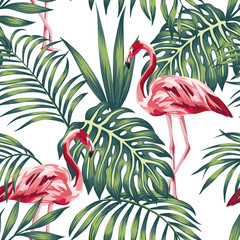 Wall Mural - Flamingo green leaves white background seamless