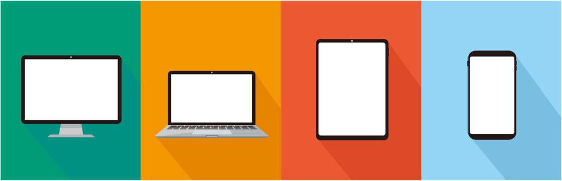 pc laptop tablet smartphone vector illustration