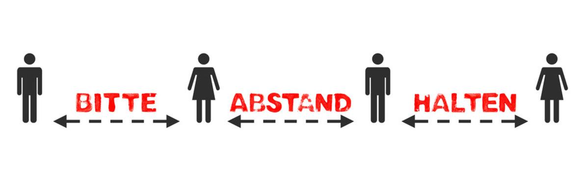 Text: Bitte Abstand halten zwischen 4 Menschen