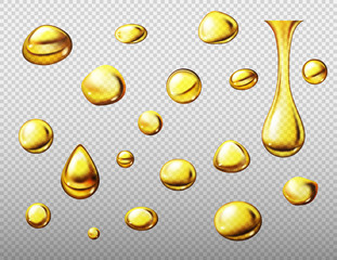 Set of realistic gold or yellow oil drops. Vector illustration isolated on transparent background
