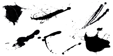 abstract ink black of stain or splash black watercolor paint and liquid Ink splash splatter is  black line calligraphy of brush isolated on white background with clipping path