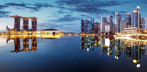 Fotomurales - Singapore city skyline at night