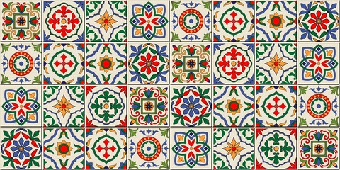Mediterranean seamless pattern from Moroccan tiles, Azulejos ornaments. Can be used for wallpaper, pattern fills, web page background,surface textures. Vector