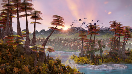 Zelfklevend Fotobehang Lichtroze alien planet landscape, beautiful forest the surface of an exoplanet