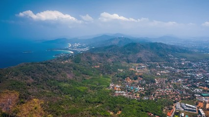 Fototapete - Aerial hyperlapse of the island of Phuket with its beaches and mountains. Thailand