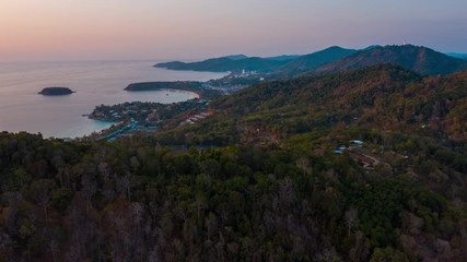 Wall Mural - Aerial hyperlapse of the island of Phuket with its beaches and mountains. Thailand