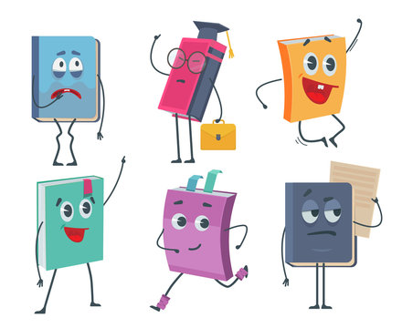 Books characters. Cartoon funny faces of old books opened and closed vector mascot collection. Childish smile books, school mascot expression