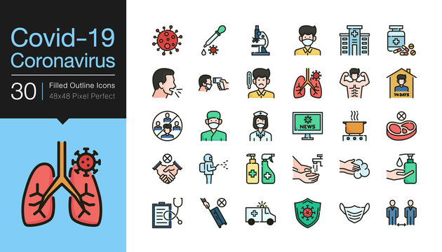 Covid-19 / Corona virus icons. Filled outline design. World Health organization WHO introduced new official name for Coronavirus disease named COVID-19, dangerous virus.