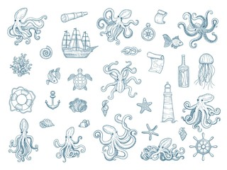 Marine illustrations. Octopus nautical set wild squid shells monster kraken vector hand drawn collection. Octopus monster, seafood and jellyfish illustration Wall mural