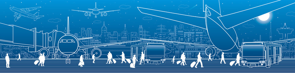 Wall Mural - Airport panorama. The plane is on the runway. Aviation transportation infrastructure. Airplane fly, people get on the aircraft and bus. Night city on background, vector design art