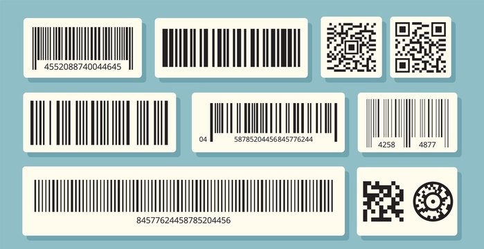 Barcode labels. QR identification, sale information. Barcodes stickers vector set. Bar identification strip, inventory retail barcode, label packaging illustration