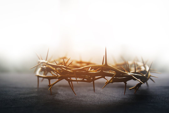 the crown of thorns of Jesus on  black background against  window light with copy space, can be used for Christian background, Easter concept