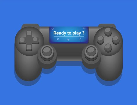 """Consol Gamepad with screen with text """"ready to play ?"""". illustration vector isolated in blue background"""