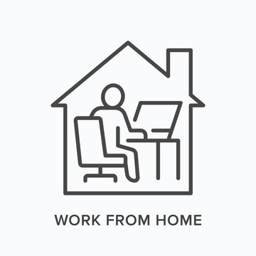 Man working on computer from home line icon. Freelance work, online education vector illustration. Person sitting in front of laptop at house office linear sign