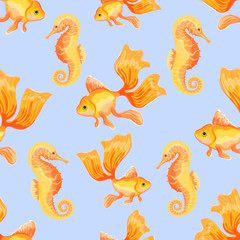 Goldfish and Sea Horse. Seamless pattern with the image of fish. Imitation of watercolor. Isolated illustration.