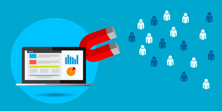Magnet pulling people for  lead generation  digital marketing  concept eps 10 vector