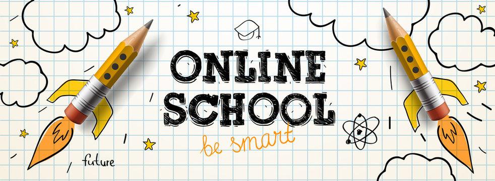 Online School. Digital internet tutorials and courses, online education. Vector banner template for website and mobile app development
