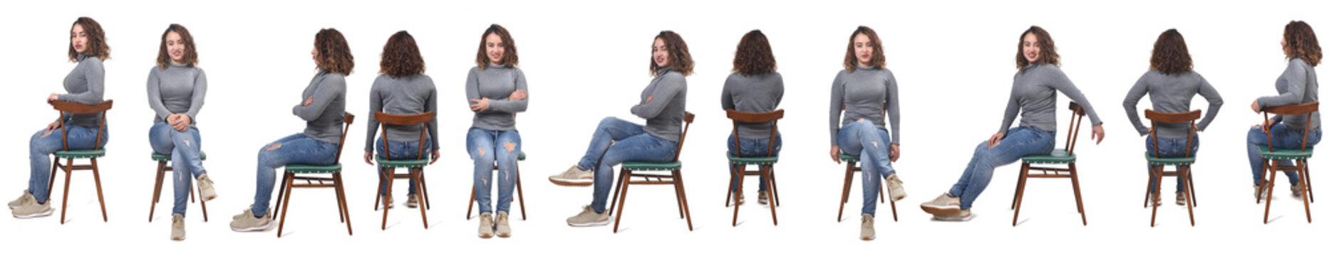 large line of samen woman sitting on white background