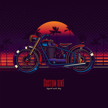 Original vector illustration in neon style. American motorcycle custom made on the beach against the background of the sea, palm trees and sunset.