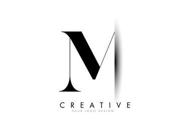 M Letter Logo with Creative Shadow Cut Design. Fotomurales