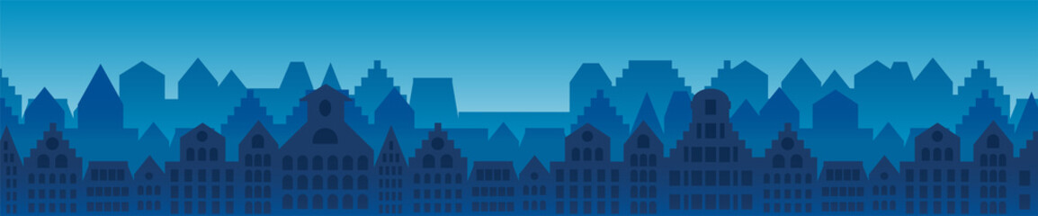 City buildings horizontal background Wall mural