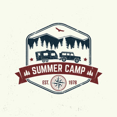 Summer camp. Vector. Concept for shirt or logo, print, stamp or tee. Vintage typography design with camper trailer, forest and mountain silhouette.