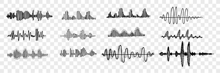 Hand drawn sound waves set collection Fototapete