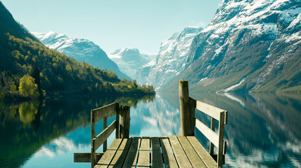 Photo sur Aluminium Printemps Norwegian fjord landscape in spring