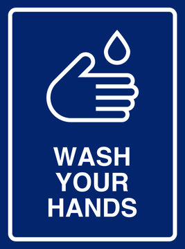 Vector high quality pictogram illustration of the wash your hands sign - White icon and bold writing on blue background