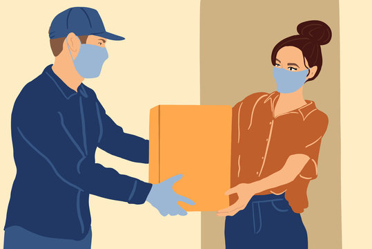 Illustration of a delivery man in medical facial mask and gloves delivering parcel to a young woman during a quarantine. Concept of delivery of goods during the epidemic